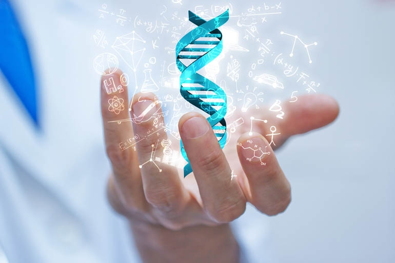 Hand with DNA double helix  and Genomic Assessment symbols
