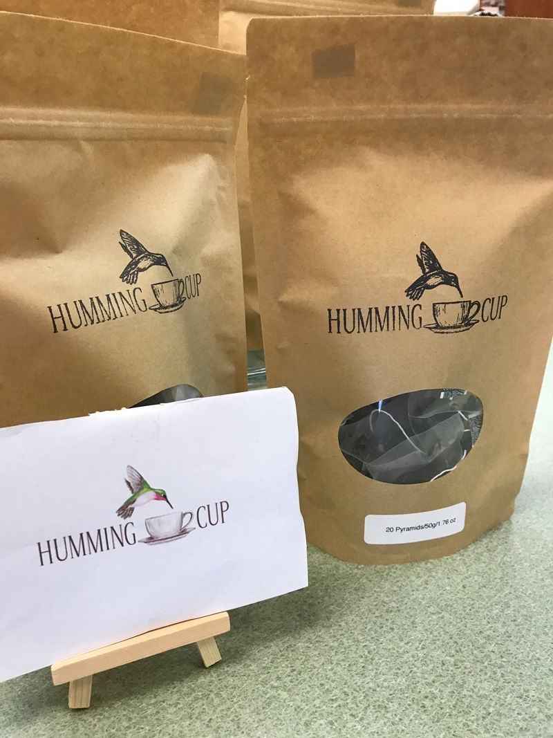 Two bags of Humming Cup tea sold at Martin's Wellness Locations all around Austin