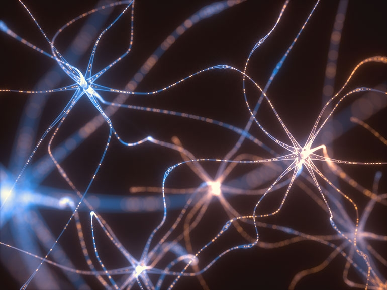 3D rendering of Neurotransmitters with electrical pulses