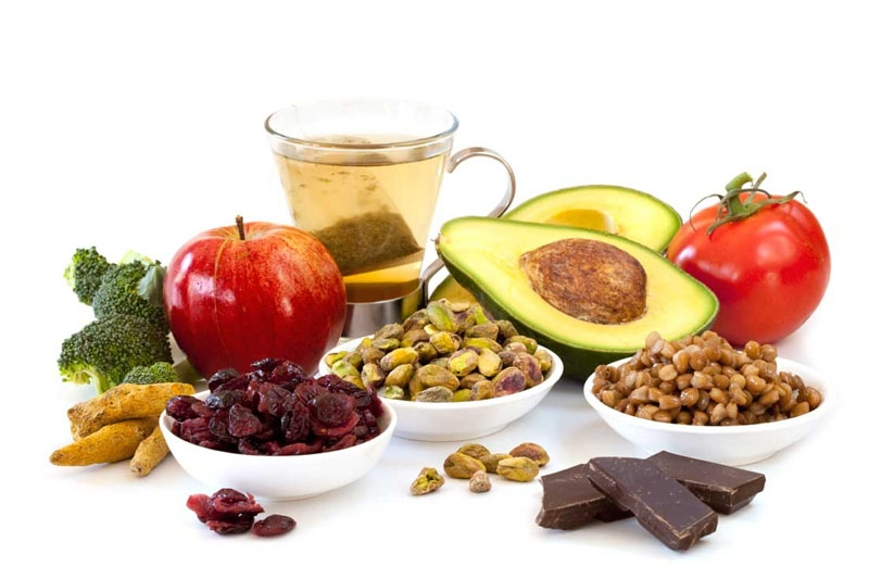 A group of antioxidant rich foods including avocado, chocolate, green tea and berries, that can be used to prevent chemical damage