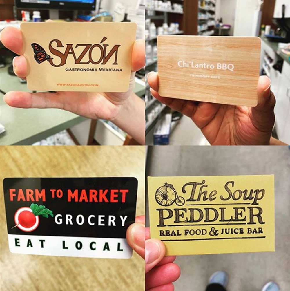 Gift cards for employees from local restaurants