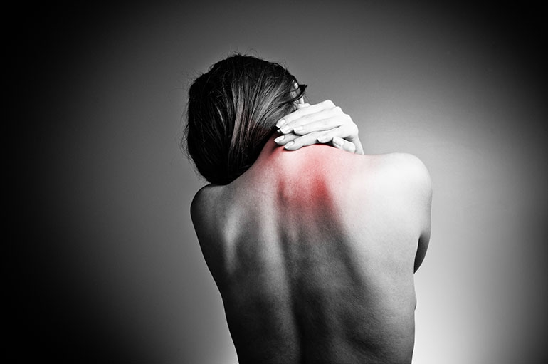 A woman with chronic back pain